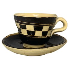 Antique Mocha Mochaware Checkered Child's Cup & Saucer FREE SHIPPING!