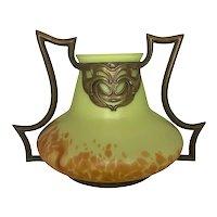 Art Nouveau Kralik Helios Bronzed Mount Bohemian Art Glass Vase