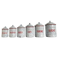 French Kitchen Enamel Canister 6 pc Set St. Servais Extra Dur Begique
