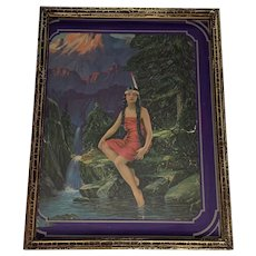 Art Deco Native American Maiden Framed Lithograph FREE SHIPPING!