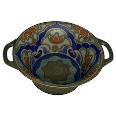 Gouda Pottery Double Handle Bowl c. 1920s