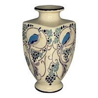 Art Nouveau Enameled Exotic Bird Ceramic Vase FREE SHIPPING!