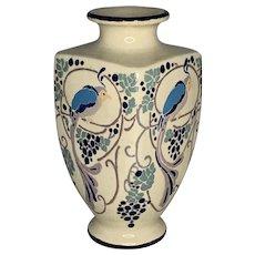Art Nouveau Enameled Exotic Bird Ceramic Vase FREE SHIPPING!