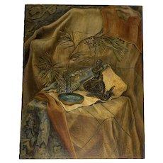 Oil on Board Still Life Oriental Painting c. 1940s