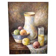 Impressionist Still Life Original Oil Painting on Canvas by W. Adams signed