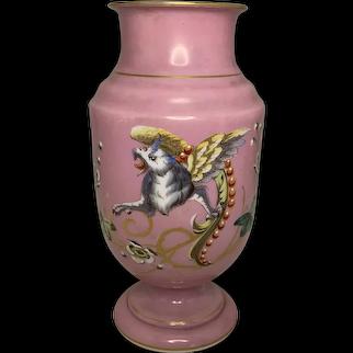 19th Century Baccarat Opaline Griffin Vase