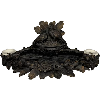 Antique Black Forest Capercaillie Double Inkwell