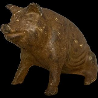A. C. Williams Cast Iron Seated Pig Still Bank c. 1910-1934