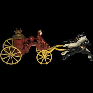 Kenton Cast Iron Horse Drawn Fire Engine Pumper Toy c. 1930s FREE SHIPPING!