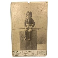 """American Indian Cabinet Card Apache Child """"A Young Warrior"""" Reed & Wallace Mobile, Ala. c. 1890 FREE SHIPPING!"""