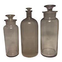 """Large Antique Apothecary Glass Stopper Bottle & Jars Trio 12.5"""""""