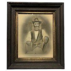 Civil War Era Framed Charcoal Portrait of Bearded Man