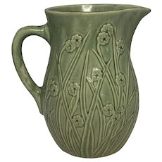 Yellowware Green Glazed Floral Pitcher FREE SHIPPING!