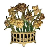 Hubley Cast Iron Doorstop Narcissus Floral Bouquet No. 266 FREE SHIPPING!