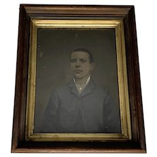 Civil War Era Framed Folk Art Hand Painted Full Plate Tintype Portrait of Young Man