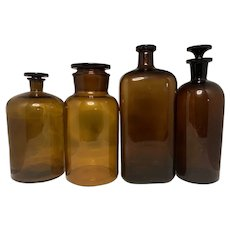 Large Antique Apothecary Amber Glass Stopper Bottles & Jar Collection