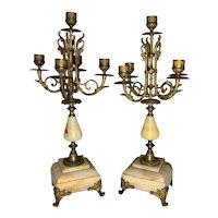 19th Century French Ormolu & Marble Candelabra Pair