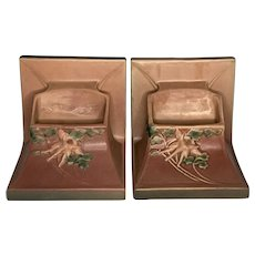 Roseville Pottery Columbine Planter Bookends c. 1940s FREE SHIPPING!