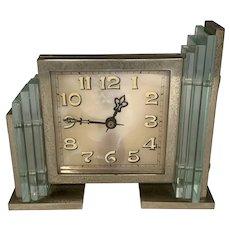 Lancel Art Deco Chrome Glass & Marble Clock c. 1930s