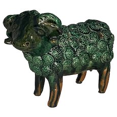 George Wagner Glazed Redware Sheep Bank Carbon Co., PA c. 1890 FREE SHIPPING!
