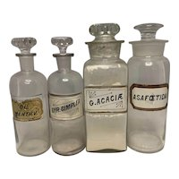 19th Century Apothecary LUG Glass Stopper Bottle Collection