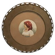 Original Italian School Watercolor Painting Gypsy Portrait Under Glass in Antique Wood Frame
