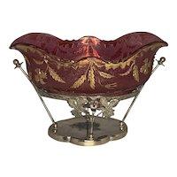 Victorian Delaware Pattern Cranberry Glass Brides Bowl