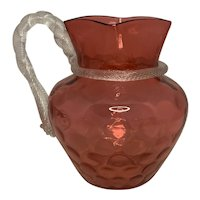 Boston & Sandwich Cranberry Glass Spot-Optic Pitcher with Rope Twist Handle