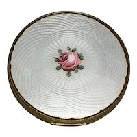 Art Deco Guilloche Enamel Hand Painted Rose Compact