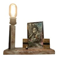 Art Deco Marble Lamp with Picture Frame