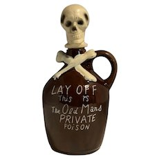 """Vintage Skull & Crossbones Whiskey Jug """"LAY OFF This is The Old Mans PRIVATE POiSON"""" FREE SHIPPING!"""