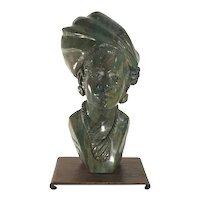 Tandi Shona Verdite Stone Sculpture Bust of Zimbabwe Woman by Tendayi Tandi FREE SHIPPING!