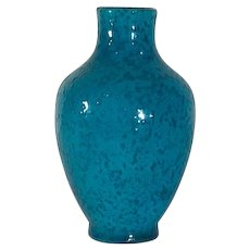 Boch Frères Art Deco Crackle Blue Speckled Vase by Charles Catteau FREE SHIPPING!
