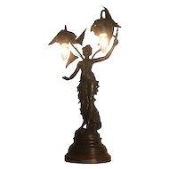 Auguste Moreau Fruits D' Automne Art Nouveau Bronze Maiden Table Lamp French c. 1900s
