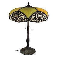 Mosaic Shade Company Leaded Glass Bronze Table Lamp (Chicago c. 1905-1914) FREE SHIPPING!