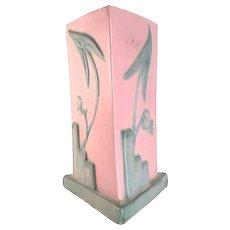 Weller Pottery Tutone Art Deco Three-Sided Vase c. 1920s FREE SHIPPING!