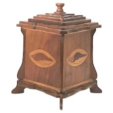 Edwardian Tea Caddy Art Nouveau Marquetry Wood Inlaid Shell Design FREE SHIPPING!
