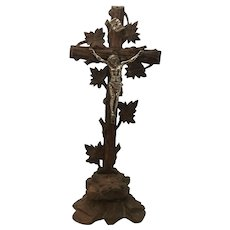Antique Black Forest Altar Crucifix Silvered Pewter Jesus Christ INRI c. 1880s