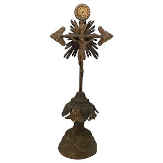 Antique Altar Crucifix Sacred Heart Christ on Cross Tin Metal French c. 1910