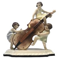 Art Deco Goldscheider Ceramic Figurine by Wilhelm Thomasch of Three Girls with Cello Vienna, Austria c. 1930s RARE!