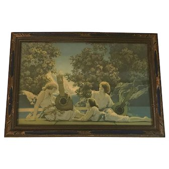 Maxfield Parrish The Lute Players Original Lithograph Under Glass in Period Frame House of Art N.Y. c. 1920s