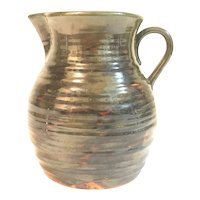 Fulper Pottery Colonial Ware Ribbed Pitcher c. 1922-1928