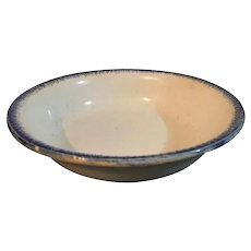 Leeds Creamware Bowl with Blue Feathered Edge