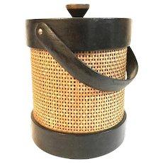 Mid Century Modern Ice Bucket Shelton Ware Wicker & Vinyl Bar Ware