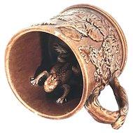 Rockingham Glazed Yellow Ware Frog Surprise Mug 19th Century FREE SHIPPING!