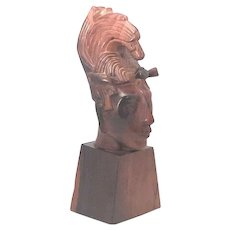 Jose Pinal Aztec Indian Carved Wood Head Bust Mid Century Modern FREE SHIPPING!