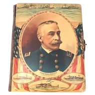 Admiral George Dewey Celluloid & Velvet Cabinet Card Photo Album c. 1890s Rare. FREE SHIPPING!