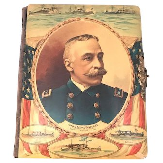 Admiral George Dewey Celluloid & Velvet Cabinet Card Photo Album c. 1890s Rare. FREE SHIPPING!