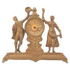 Ansonia Frolic Novelty Clock Cast Gilded Spelter Double Figure c. 1894 Rare.