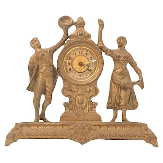 Ansonia Frolic Novelty Clock Cast Gilded Spelter Double Figure c. 1894 Rare.